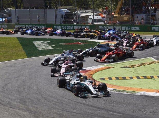 Lewis Hamilton, Esteban Ocon, Lance Stroll, Kimi Räikkönen