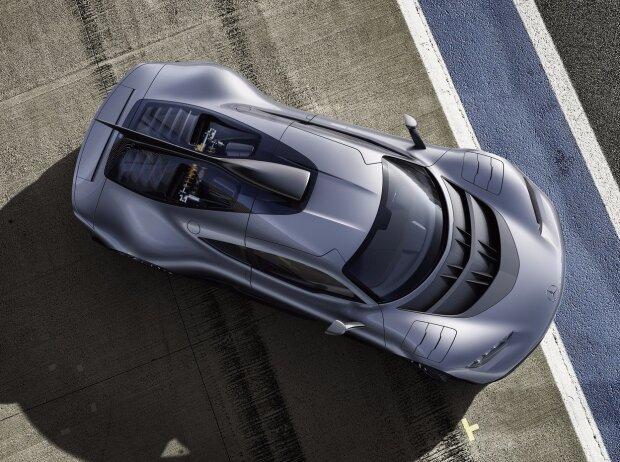 Showcar Mercedes-AMG Project ONE, zweisitziger Supersportwagen-mit modernster und effizientester Formel 1-Hybrid-Technologie, High Performance Plug-in Hybrid Antriebsstrang mit 1,6-Liter-V6-Turbobenzinmotor und vier Elektromotoren