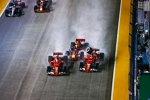 Sebastian Vettel (Ferrari), Max Verstappen (Red Bull) und Kimi Räikkönen (Ferrari)