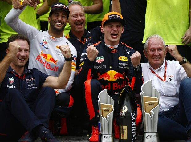 Max Verstappen, Daniel Ricciardo, Christian Horner