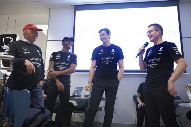 ~Niki Lauda, Lewis Hamilton, Toto Wolff & Andy Cowell~