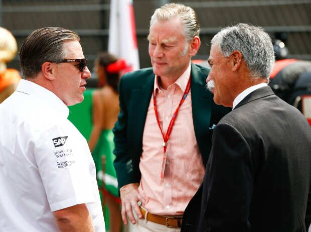 Zak Brown, Chase Carey, Sean Bratches