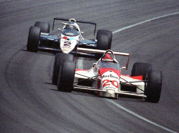 Emerson Fittipaldi und Al Unser Jr. beim Indy 500 1989