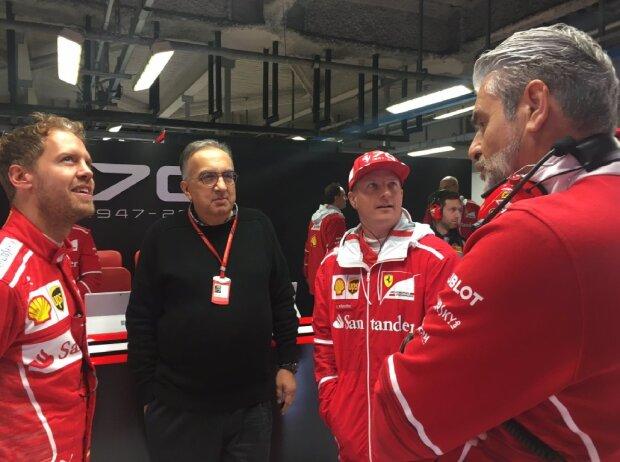 Sebastian vettel, Sergio Marchionne, Kimi Räikkönen, Maurizio Arrivabene