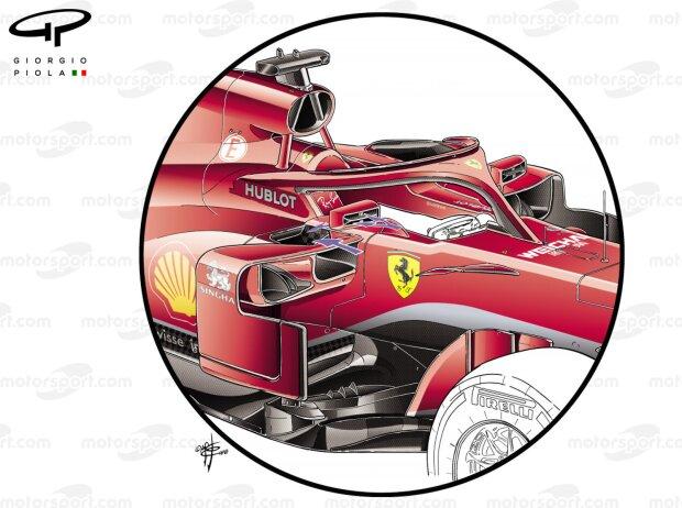 Spiegeldetail am Ferrari SF71H