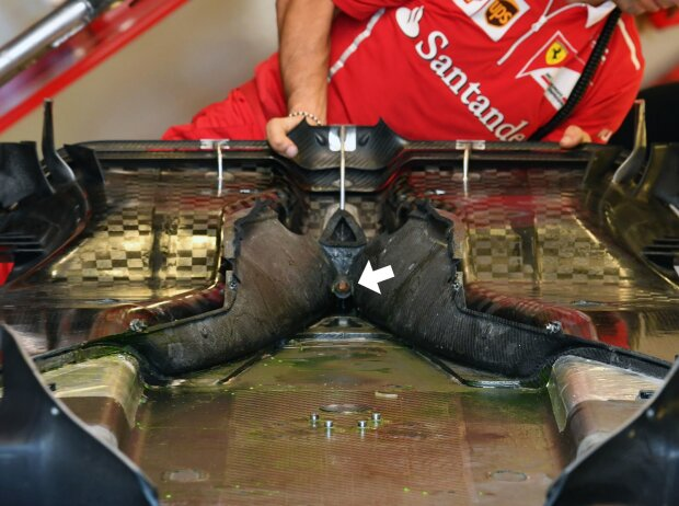 Unterboden-Detail am Ferrari SF71H