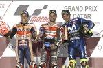 Marc Marquez, Andrea Dovizioso und Valentino Rossi