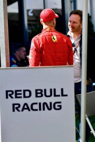 Sebastian Vettel Christian Horner Ferrari Scuderia Ferrari F1Red Bull Aston Martin Red Bull Racing F1CIP CIP Moto3 ~Sebastian Vettel (Ferrari) und Christian Horner ~