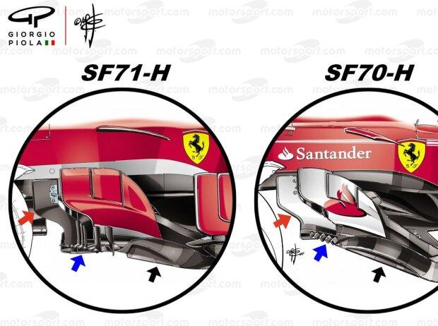 Ferrari SF71H vs. SF70H: Vergleich, Bargeboards