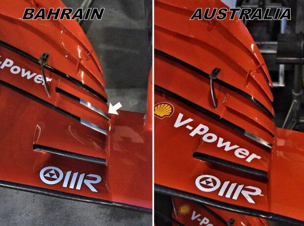 Ferrari SF71H: Frontflügel, Vergleich