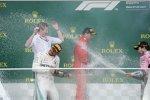 Kimi Räikkönen (Ferrari), Lewis Hamilton (Mercedes) und Sergio Perez (Force India)