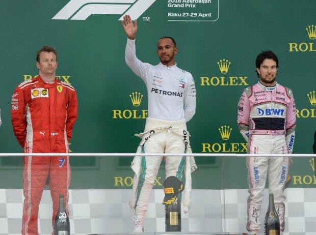 Kimi Räikkönen, Lewis Hamilton, Sergio Perez