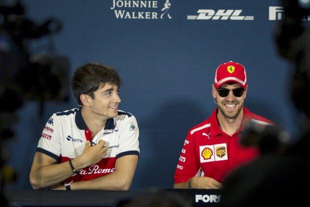 Charles Leclerc Sebastian Vettel Ferrari Scuderia Ferrari F1Sauber Alfa Romeo Sauber F1 Team F1 ~Charles Leclerc (Sauber) und Sebastian Vettel (Ferrari) ~