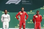 Lewis Hamilton (Mercedes), Sebastian Vettel (Ferrari) und Kimi Räikkönen (Ferrari)