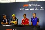 Sergio Perez (Force India), Nico Hülkenberg (Renault), Sebastian Vettel (Ferrari) und Brendon Hartley (Toro Rosso)