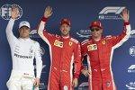 Valtteri Bottas (Mercedes), Sebastian Vettel (Ferrari) und Kimi R?ikk?nen (Ferrari)