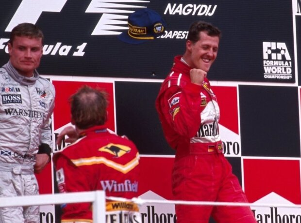 Michael Schumacher, David Coulthard, Jacques Villeneuve, Henning Solberg