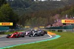 Sebastian Vettel (Ferrari), Lewis Hamilton (Mercedes), Esteban Ocon (Racing Point) und Sergio Perez (Racing Point)