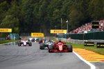 Sebastian Vettel (Ferrari), Lewis Hamilton (Mercedes), Sergio Perez (Racing Point) und Esteban Ocon (Racing Point)