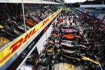 Nico Hülkenberg (Renault), Kevin Magnussen (Haas), Lando Norris, Esteban Ocon (Racing Point) und Lewis Hamilton (Mercedes)