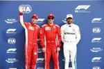 Kimi Räikkönen (Ferrari), Sebastian Vettel (Ferrari) und Lewis Hamilton (Mercedes)