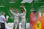 Lewis Hamilton (Mercedes), Valtteri Bottas (Mercedes) und Kimi Räikkönen (Ferrari)