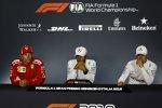 Kimi Räikkönen (Ferrari), Lewis Hamilton (Mercedes) und Valtteri Bottas (Mercedes)