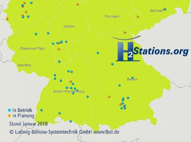 Wasserstofftankstellen in Süddeutschland - Stand Januar 2018