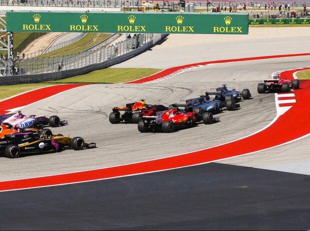 Sebastian Vettel, Lewis Hamilton, Valtteri Bottas, Daniel Ricciardo, Kimi Räikkönen, Esteban Ocon, Fernando Alonso, Carlos Sainz