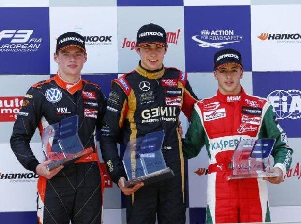 Jordan King, Esteban Ocon, Max Verstappen