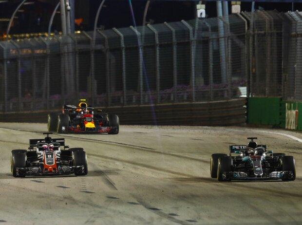 Lewis Hamilton, Max Verstappen, Romain Grosjean