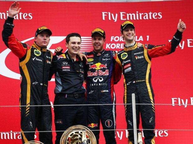 Sebastian Vettel, Romain Grosjean, Kimi Räikkönen