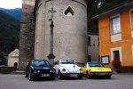 ADAC Europa Classic 2018: VW Golf I Cabriolet (1992), VW Käfer 1303 LS Cabriolet (1979) und Porsche 914/6 (1970) aus der Autostadt