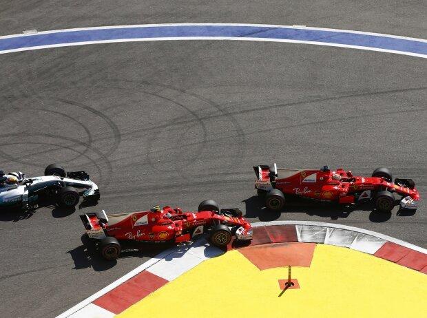 Sebastian Vettel, Kimi Räikkönen, Lewis Hamilton