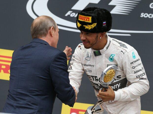 Wladimir Putin und Lewis Hamilton, Sotschi 2015
