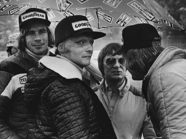 James Hunt, Niki Lauda, Bernie Ecclestone