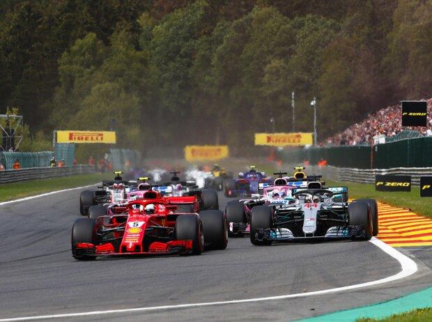 Sebastian Vettel, Lewis Hamilton, Sergio Perez, Esteban Ocon