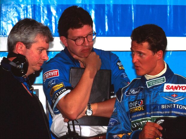 Pat Symonds, Ross Brawn, Michael Schumacher in Silverstone 1994