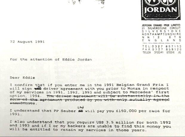Vertrag Michael Schumacher Jordan 1991