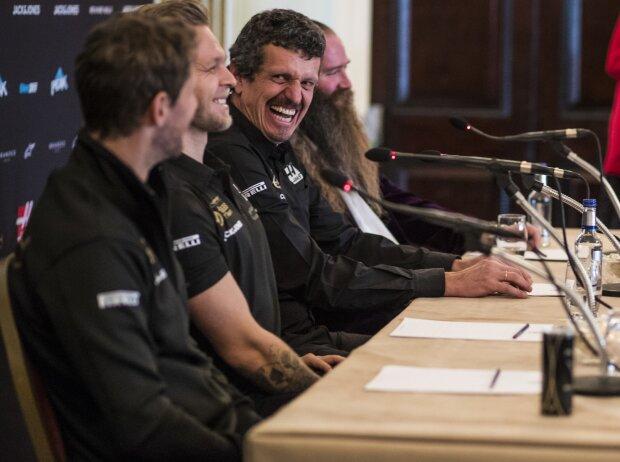 Romain Grosjean, Kevin Magnussen, Günther Steiner und William Storey