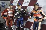 Andrea Dovizioso (Ducati), Maverick Vinales (Yamaha) und Marc Marquez (Honda)
