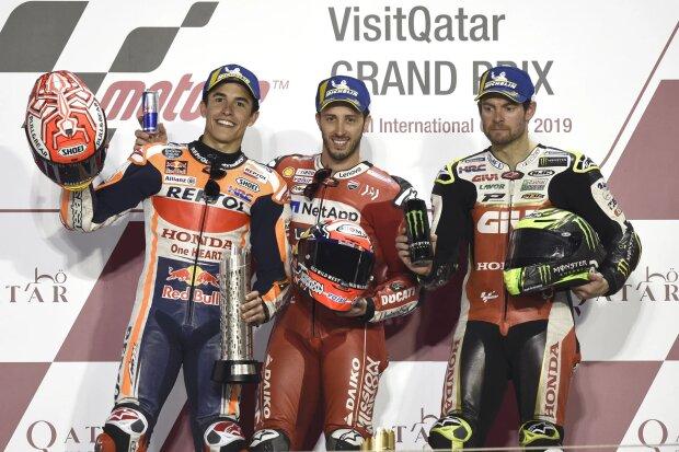 Marc Marquez Andrea Dovizioso Cal Crutchlow LCR LCR-Honda MotoGPDucati Ducati SuperbikeLCR LCR-Honda MotoGP ~Marc Marquez (Honda), Andrea Dovizioso (Ducati) und Cal Crutchlow (LCR) ~