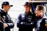 Pierre Gasly (Red Bull), Max Verstappen (Red Bull) und Christian Horner