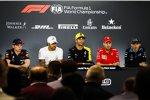 Max Verstappen (Red Bull), Lewis Hamilton (Mercedes), Daniel Ricciardo (Renault), Sebastian Vettel (Ferrari) und Robert Kubica (Williams)