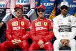 Charles Leclerc (Ferrari), Sebastian Vettel (Ferrari) und Lewis Hamilton (Mercedes)