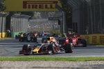 Max Verstappen (Red Bull), Charles Leclerc (Ferrari) und Kevin Magnussen (Haas)