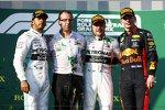 Lewis Hamilton (Mercedes), Valtteri Bottas (Mercedes) und Max Verstappen (Red Bull)