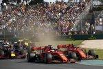 Sebastian Vettel (Ferrari), Charles Leclerc (Ferrari), Max Verstappen (Red Bull) und Nico Hülkenberg (Renault)