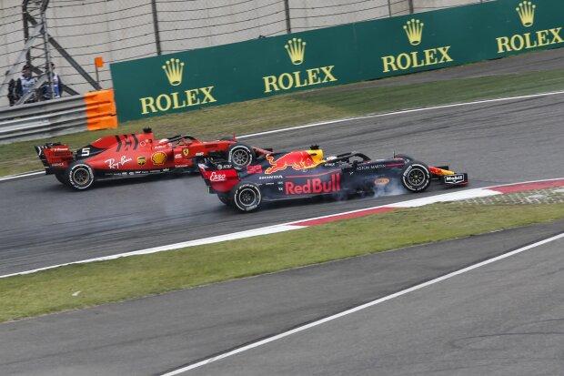 Sebastian Vettel Max Verstappen Ferrari Scuderia Ferrari Mission Winnow F1Red Bull Aston Martin Red Bull Racing F1 ~Sebastian Vettel (Ferrari) und Max Verstappen (Red Bull) ~