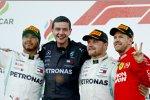 Lewis Hamilton (Mercedes), Valtteri Bottas (Mercedes) und Sebastian Vettel (Ferrari)